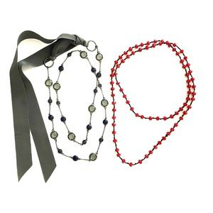 J. Crew Glass Bead Necklace + Red Glass Necklace